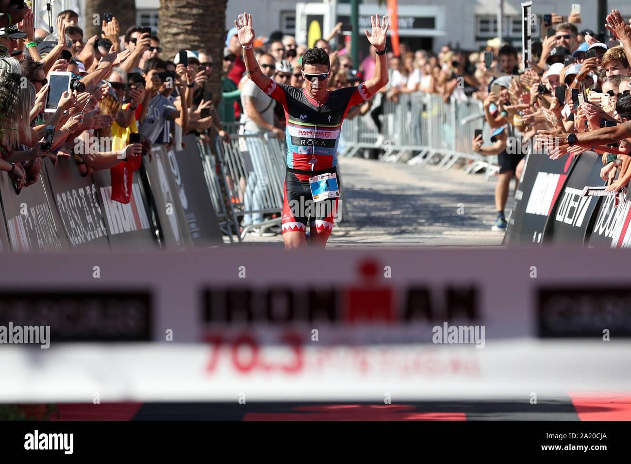 Lissabon. 29 Sep, 2019. Javier Gomez Noya Spanien reagiert auf das Gewinnen der Ironman Triathlon Veranstaltung in Cascais, Portugal am 29. September 2019. Credit: Pedro Fiuza/Xinhua/Alamy leben Nachrichten Stockfoto