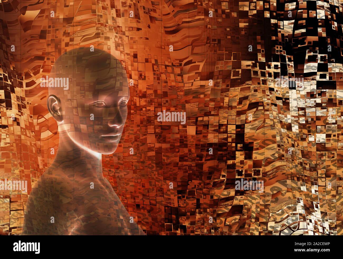 Humanoiden Kopf als Konzept für Künstliche Intelligenz, zukünftige Generationen von Menschen, Technologie, Singularität, cyberlife und digital erstellte Personas Stockfoto