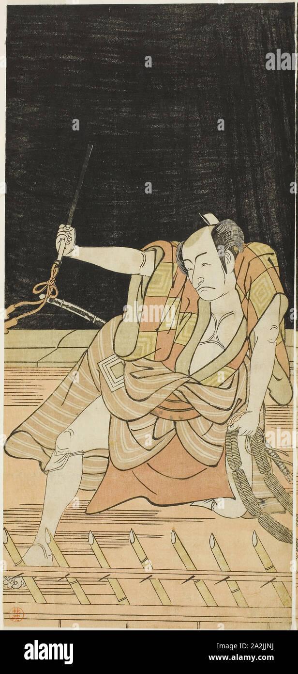 Der Schauspieler Ichikawa Danjuro V als Issun Tokubei in Akt 8 Der Play Natsu Matsuri Naniwa Kagami (Spiegel von Osaka im Sommer Festival), an der Morita Theater aus dem 17. Tag des siebten Monats, 1779 durchgeführt, C. 1779, Katsukawa Shunko I, Japanisch, 1743-1812, Japan, Farbe holzschnitt, linken Blatt hosoban Diptychon (rechts: 1942.113), 31,4 x 14,5 cm (12 3/8 x 5 11/16 in Stockfoto