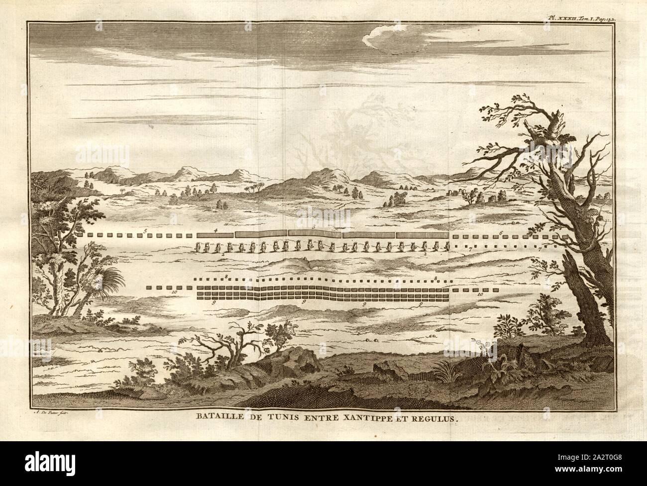 Schlacht von Tunis zwischen Xantippe und Regulus, Schlacht von Tunes (heute: Tunis) zwischen Xanthippos und Regulus, Signiert: A. De Putter fecit, PL. XXXII, Tom., I, Pag., 152, nach S. 152, Putter, A. de (FEC), 1774, Polybius; Vincent Thuillier; Jean Charles de Folard: Histoire de Polybe. Tome 1; Amsterdam: Arkstée et Merkus, MDCCLXXIV [1774 Stockfoto