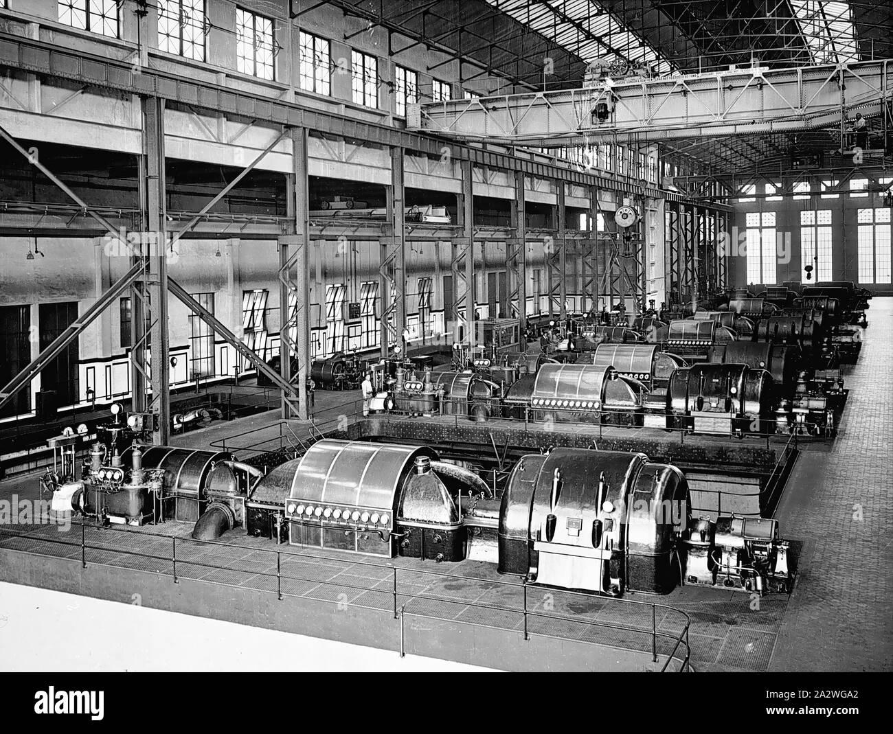 Negative - Newport, Victoria, vor 1918, innerhalb der Windenergieanlage Zimmer am Newport Power Station Stockfoto