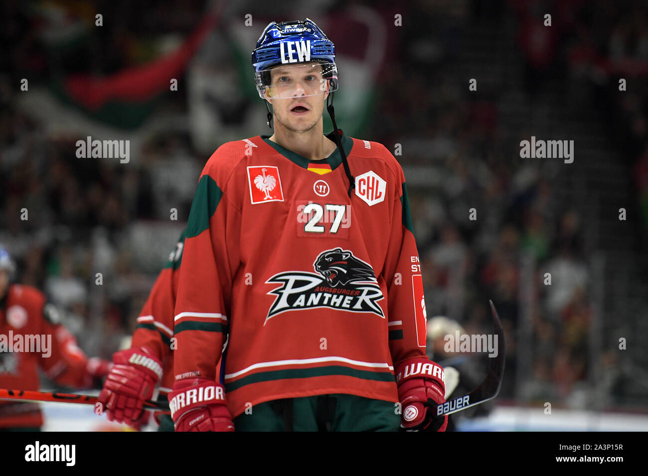 08.10.2019, xemx, Eishockey Champions Hockey League, Augsburger Panther - Bili Tygri Liberec emspor, v.l. Mannschaft, Vorgängerbaues verspielte, enttaeuscht, enttaeusc Stockfoto