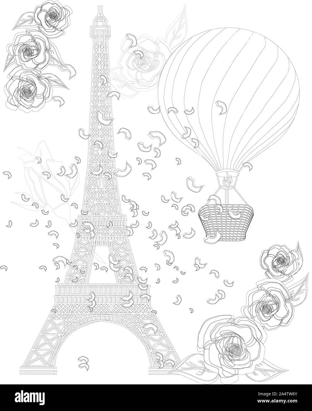 Zen Kunst stilisierte Eiffelturm und Heißluftballon. Skizze