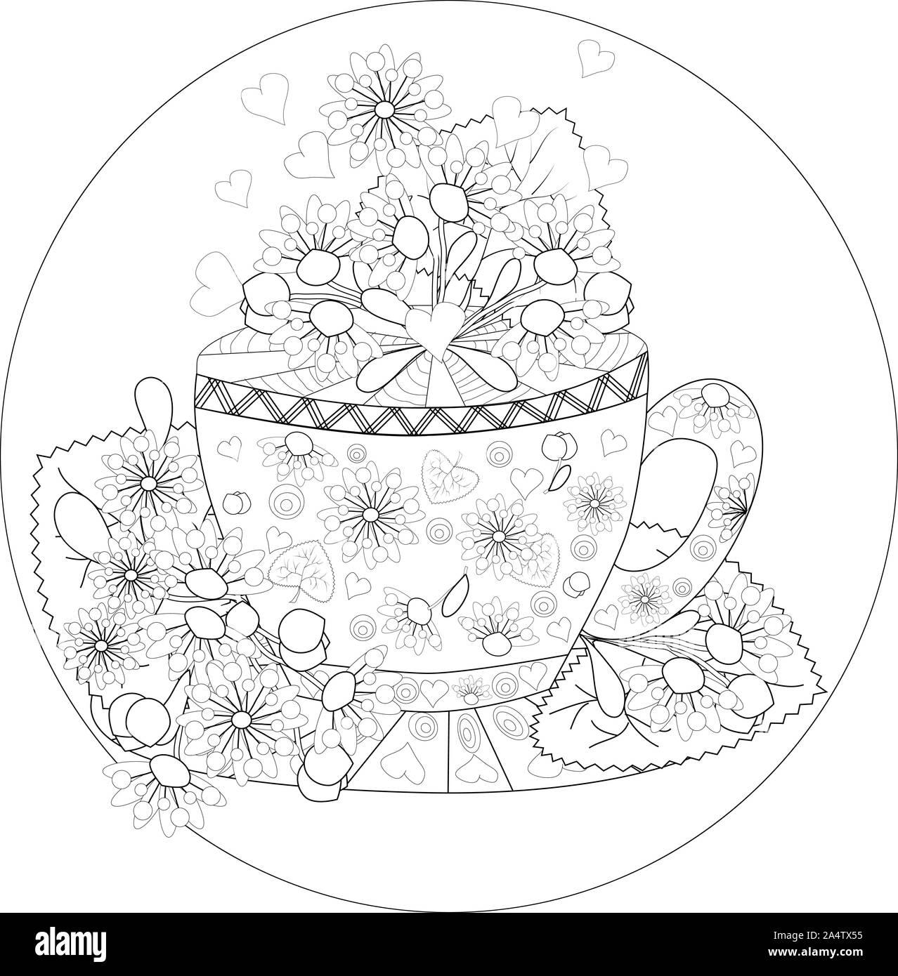 Hand zeichnen Malvorlagen für Erwachsene. Teatime. Tassen Tee