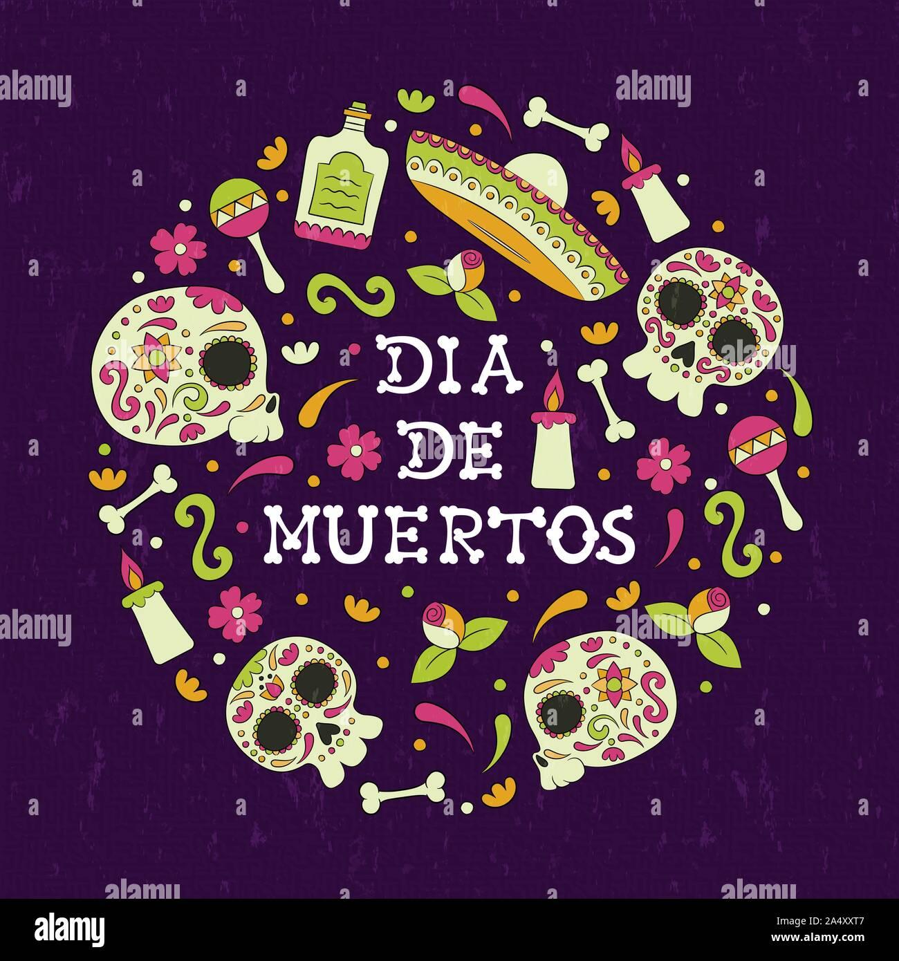 Tag der Toten Sugar Skull Grußkarte für mexikanische Feier, traditionelle Mexiko Skelett Dekoration mit Kerzen und Blumen Hintergrund. Stock Vektor