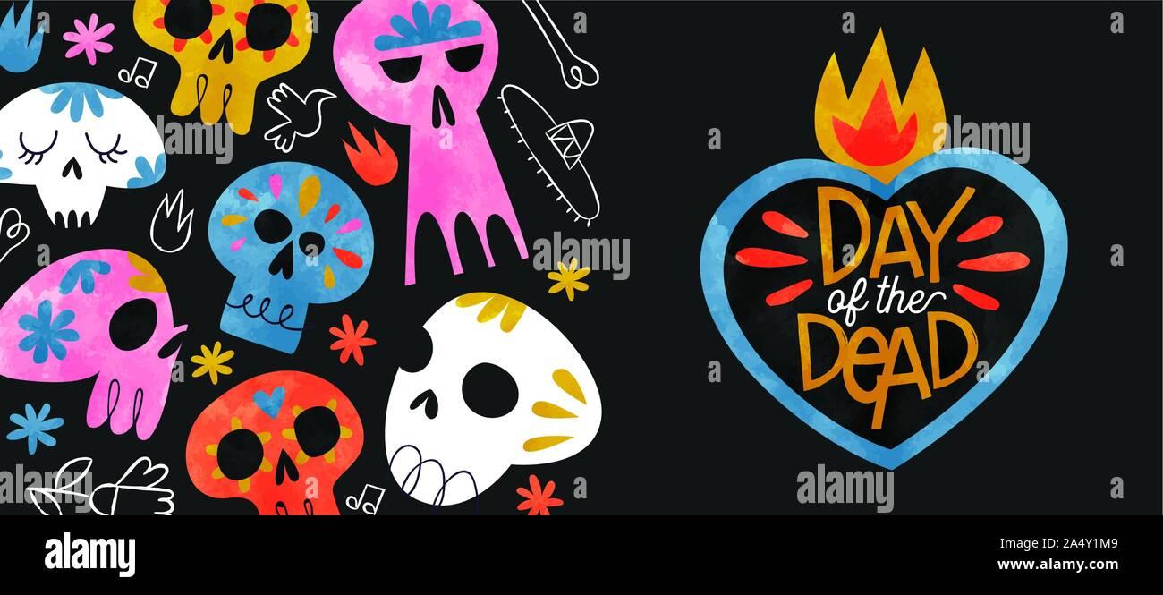 Tag der Toten Grußkarte Illustration, farbenfrohen Aquarell Zucker Schädel und Hand gezeichnet Mexiko Kultur Symbole für traditionelle mexikanische Holiday event Stock Vektor