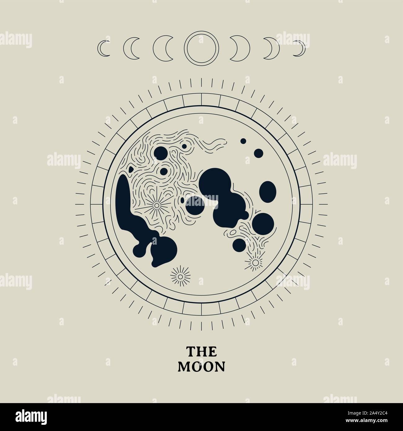 Vintage mond Darstellung der Mondphasen. Nacht der Astronomie Konzept auf isolierten Hintergrund. Stock Vektor