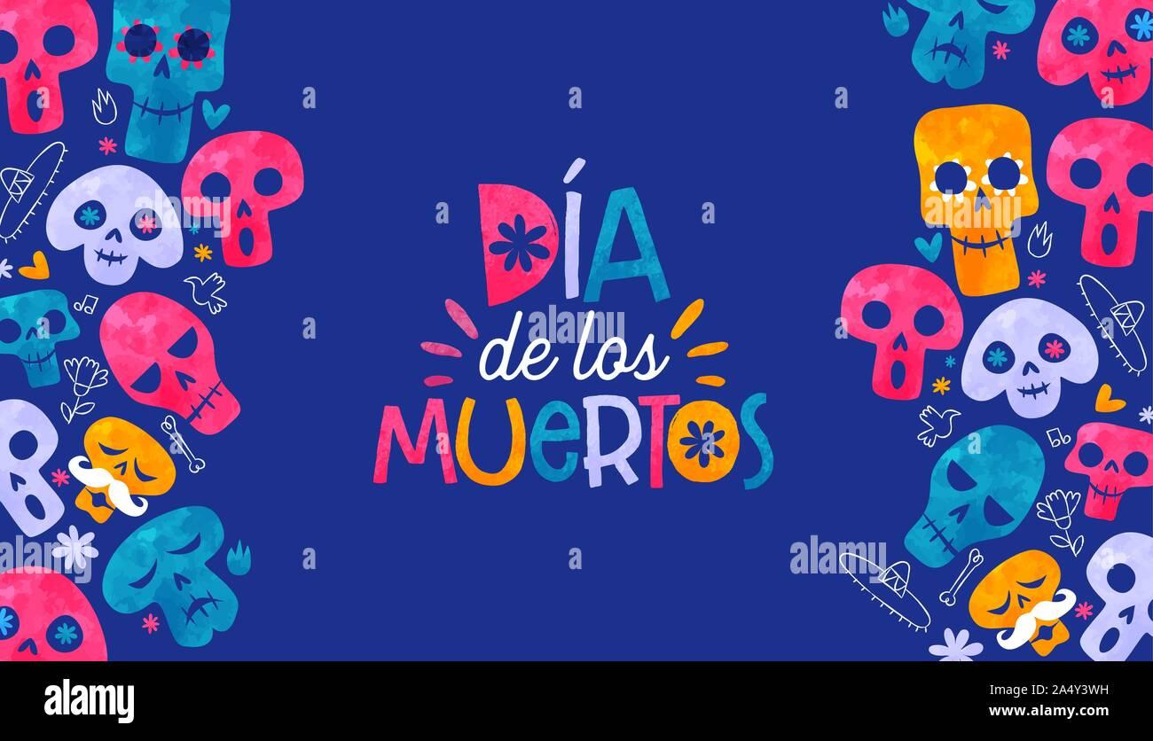 Tag der Toten Sprache Grußkarte, farbenfrohen Aquarell Sugar Skull mit traditionellen Hand gezeichnet mexikanischer Dekoration Hintergrund. Mexiko skel Stock Vektor