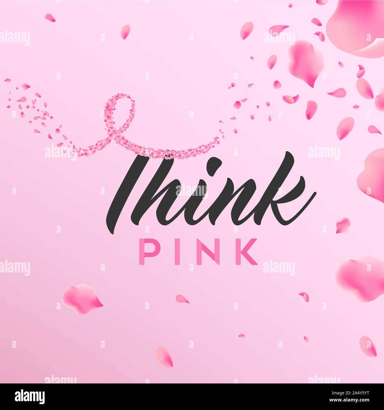 Brustkrebs-bewußtsein Monat floral Illustration, think pink Text Kalligraphie Nachricht und Farbband Form von rose Blumenblätter für Gesundheit Kampagne Stock Vektor