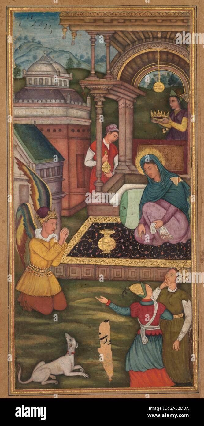 Die Verkündigung, von einem Mir ' bei al-Quds von Vater jerome Xavier (Spanisch, 1549-1617), 1602-1604. Die Verkündigung ist eine vertraute Szene in der Europäischen Renaissance und Barock Kunst, die hier von einem Maler in einem Mughal workshop interpretiert wird. Mary hatte gebetet, vor der Ankunft der Engel Gabriel. Schaut sie ihn an, als er kniet andächtig und informiert sie, dass sie den Sohn Gottes tragen. Seine Flügel, gezwungen, innerhalb der Grenze der Malerei Feld, polychromed gewesen, einen mystischen Eindruck, die ihn so identifiziert, als einer jenseitigen Wesen zu vermitteln. Die Krone statt über Mary 's Kopf Stockfoto