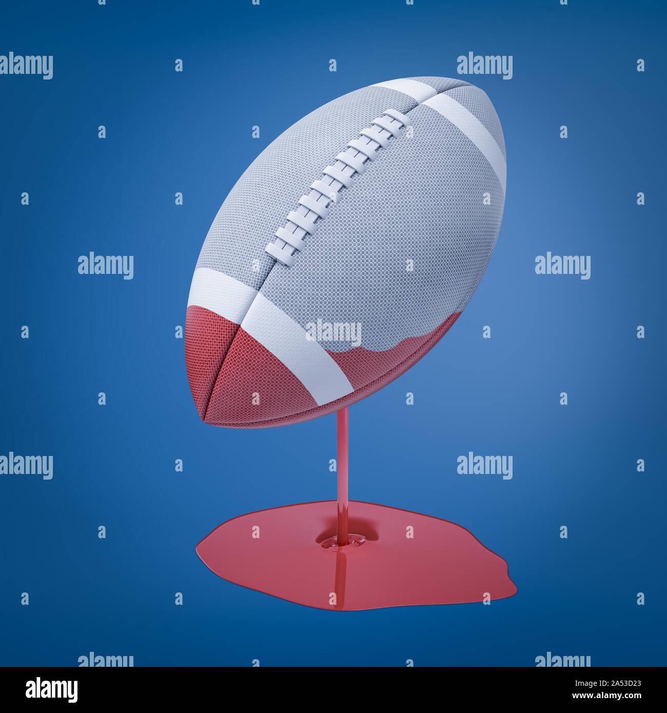 3D-Rendering für eine hellgraue ovalen Ball für American Football, der in roter Farbe, die immer noch nach unten tropft und bildet eine Pfütze eingetaucht wurde. Stockfoto