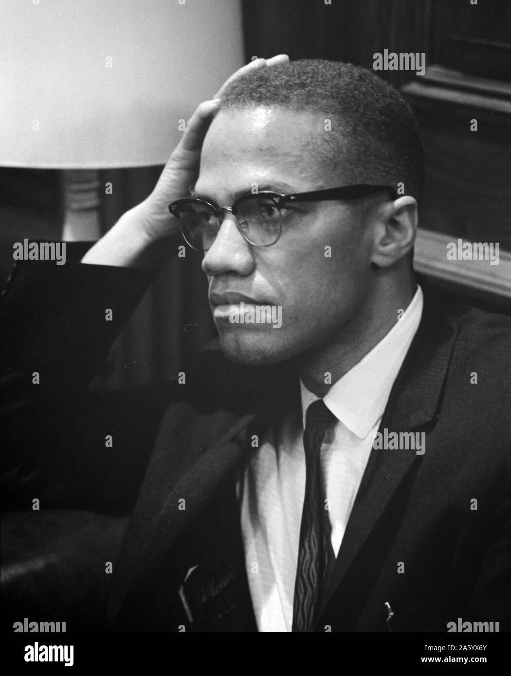 Malcolm X (19. Mai 1925 – 21. Februar 1965), Malcolm geboren, er war ein amerikanischer muslimischen Minister und Menschenrechtsaktivistin Stockfoto