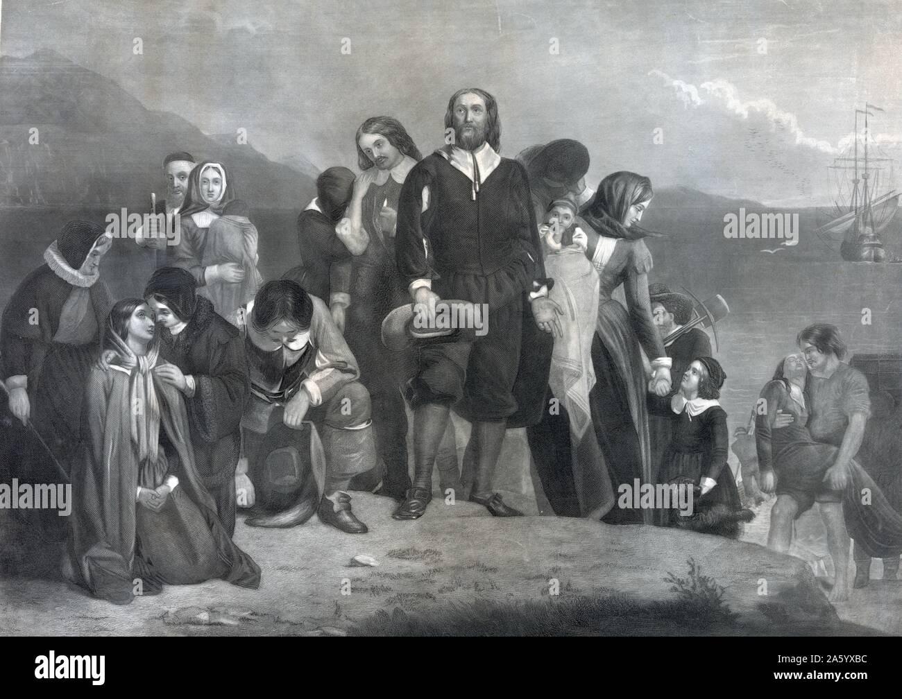Illustration von der Abfahrt der Pilgerväter für Amerika. Vom Jahre 1620 Stockfoto