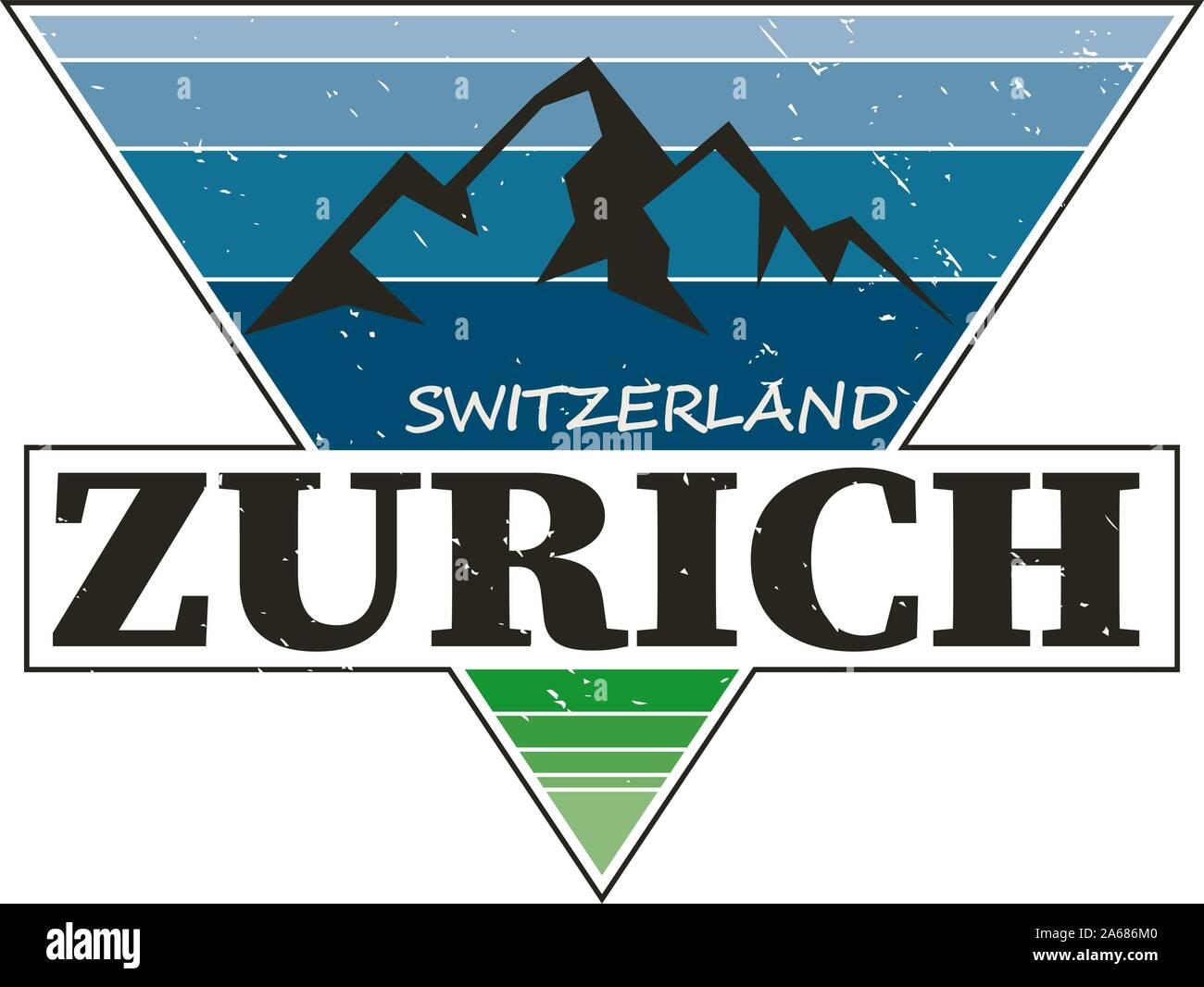 Zürich Schweiz Städtereiseziel. Vektor t-shirt Logo Stock Vektor