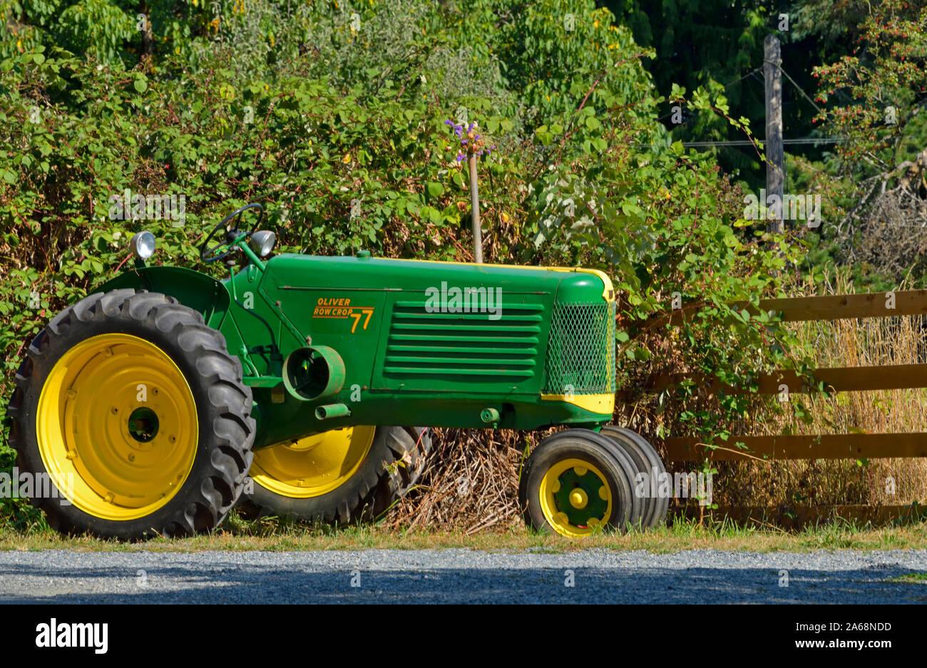 Seitenansicht eines antiken Oliver farm Traktor geparkt für Menschen entlang einer Straße in British Columbia Kanada zu sehen. Stockfoto
