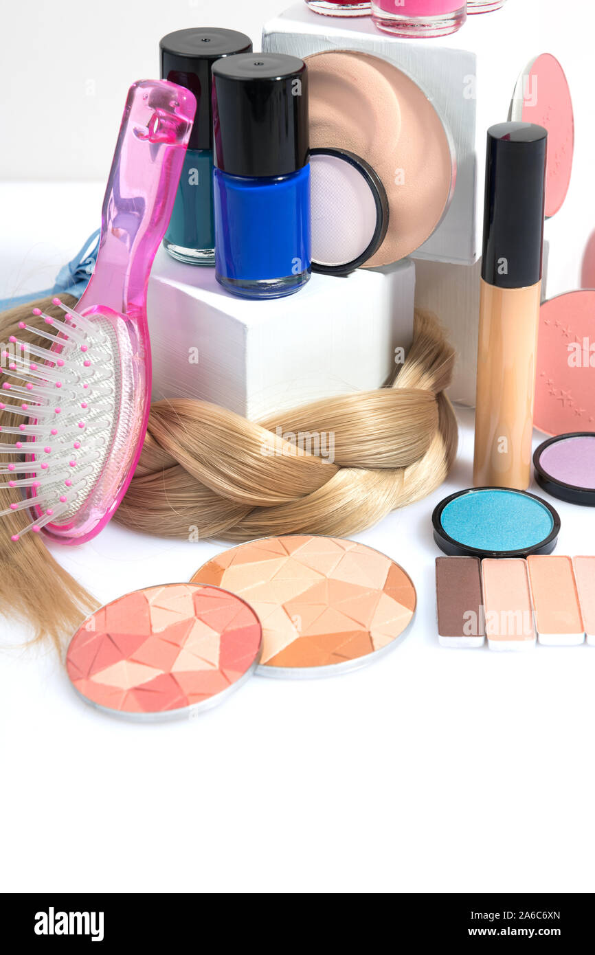 Stillleben mit Beauty und Make-up-Produkte Stockfoto