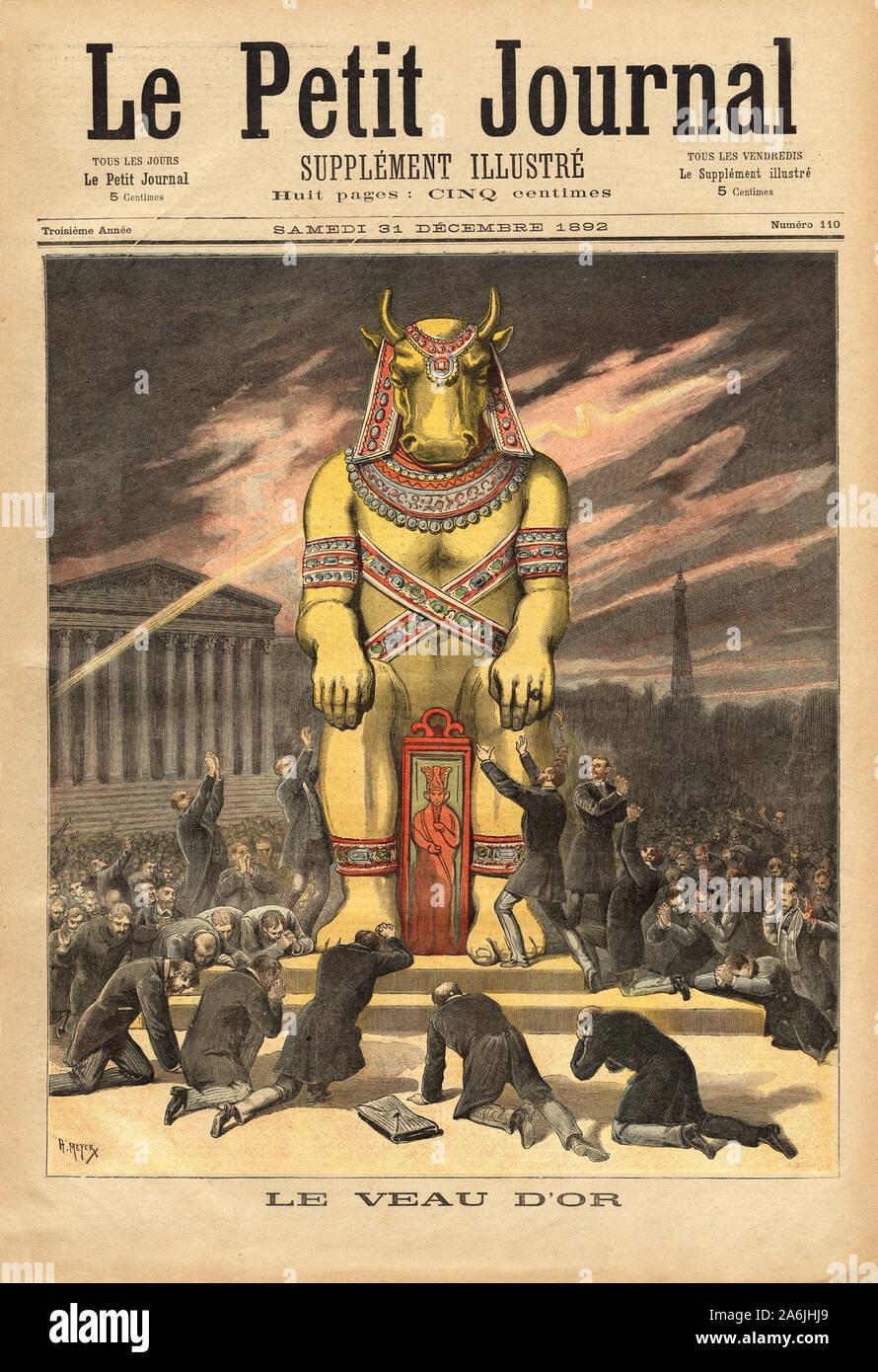 Les deputes Francais, devant Les Marches de l'Assemblee Nationale, agenouilles gießen Anbeterin le veau d'Or, Symbole de l'Idolatrie, materialisme et de l' Stockfoto