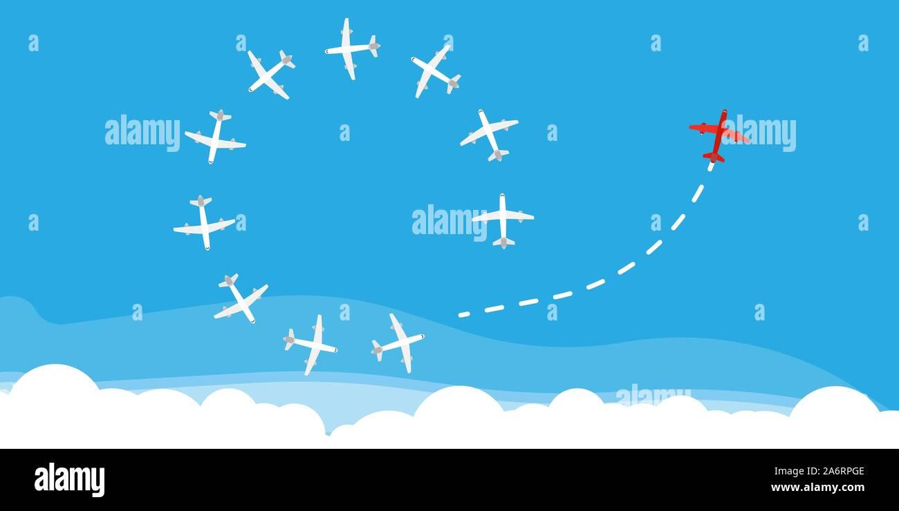 Rote Flugzeug Richtung ändern Konzept Business Solution. Ebene weg Mut Leadership Strategy Vektor. Jet Weg fliegen Stock Vektor