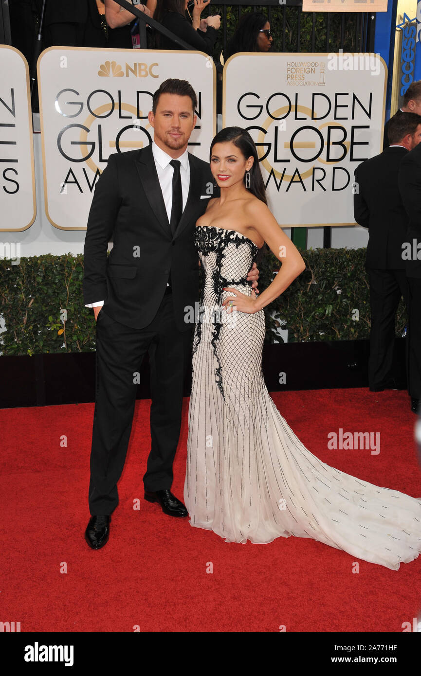 LOS ANGELES, Ca - 12. JANUAR 2014: Channing Tatum und Jenna Dewan-Tatum am 71st jährlichen Golden Globe Awards im Beverly Hilton Hotel. © 2014 Paul Smith/Featureflash Stockfoto
