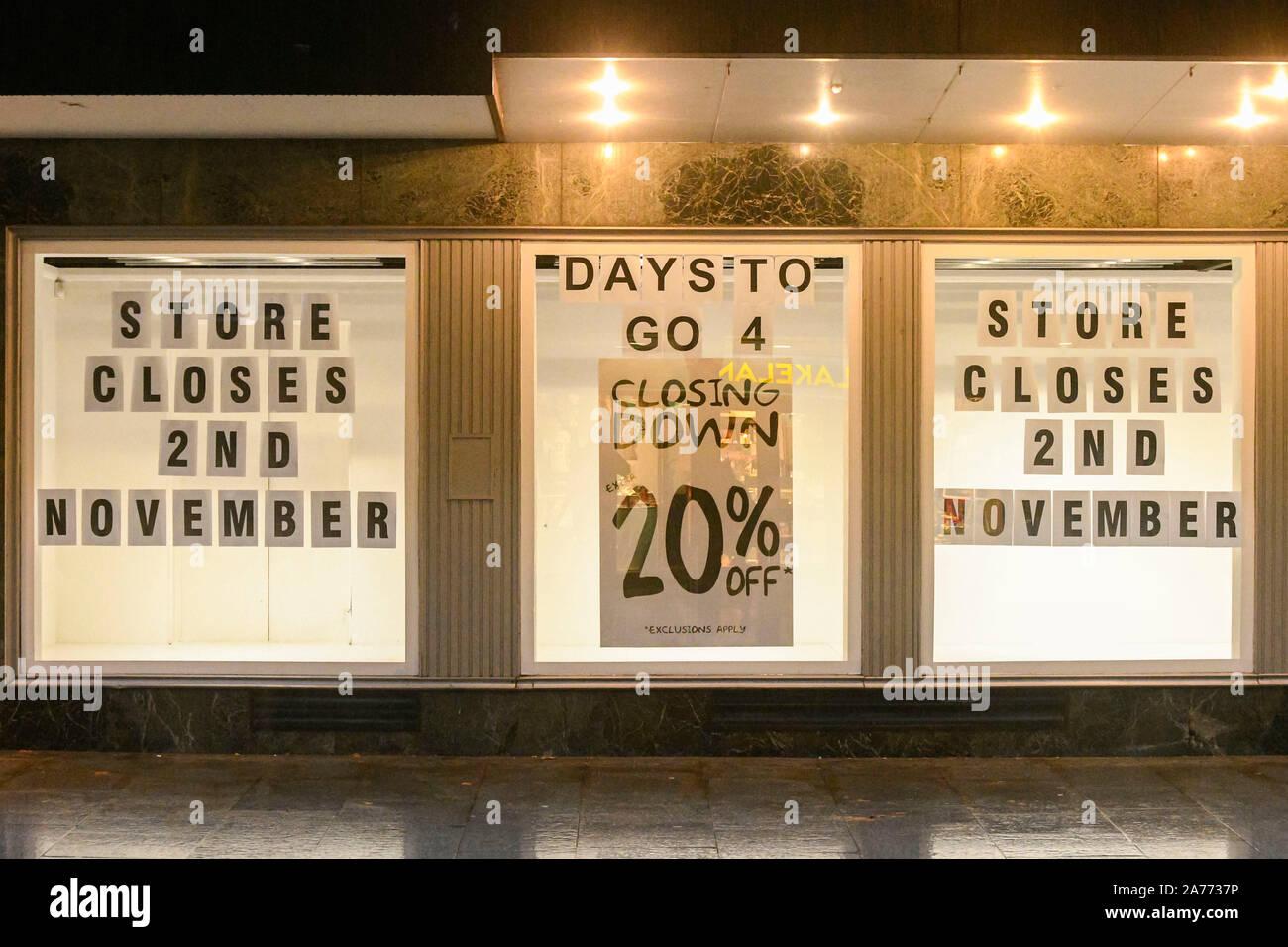 Exeter Devon, Großbritannien. 30. Oktober 2019. Blick auf das Haus von Fraser Kaufhaus auf Hight Street in Exeter, die geschlossen wird am Samstag, den 2. November. Foto: Graham Jagd-/Alamy leben Nachrichten Stockfoto