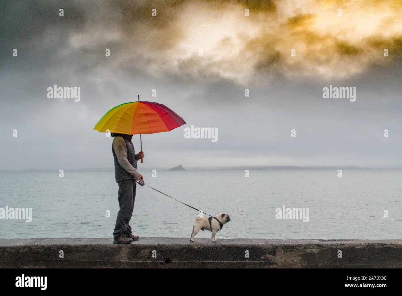 Man Walking Mops Hund im Regen gegen das Meer mit einem bunten Regenschirm Stockfoto