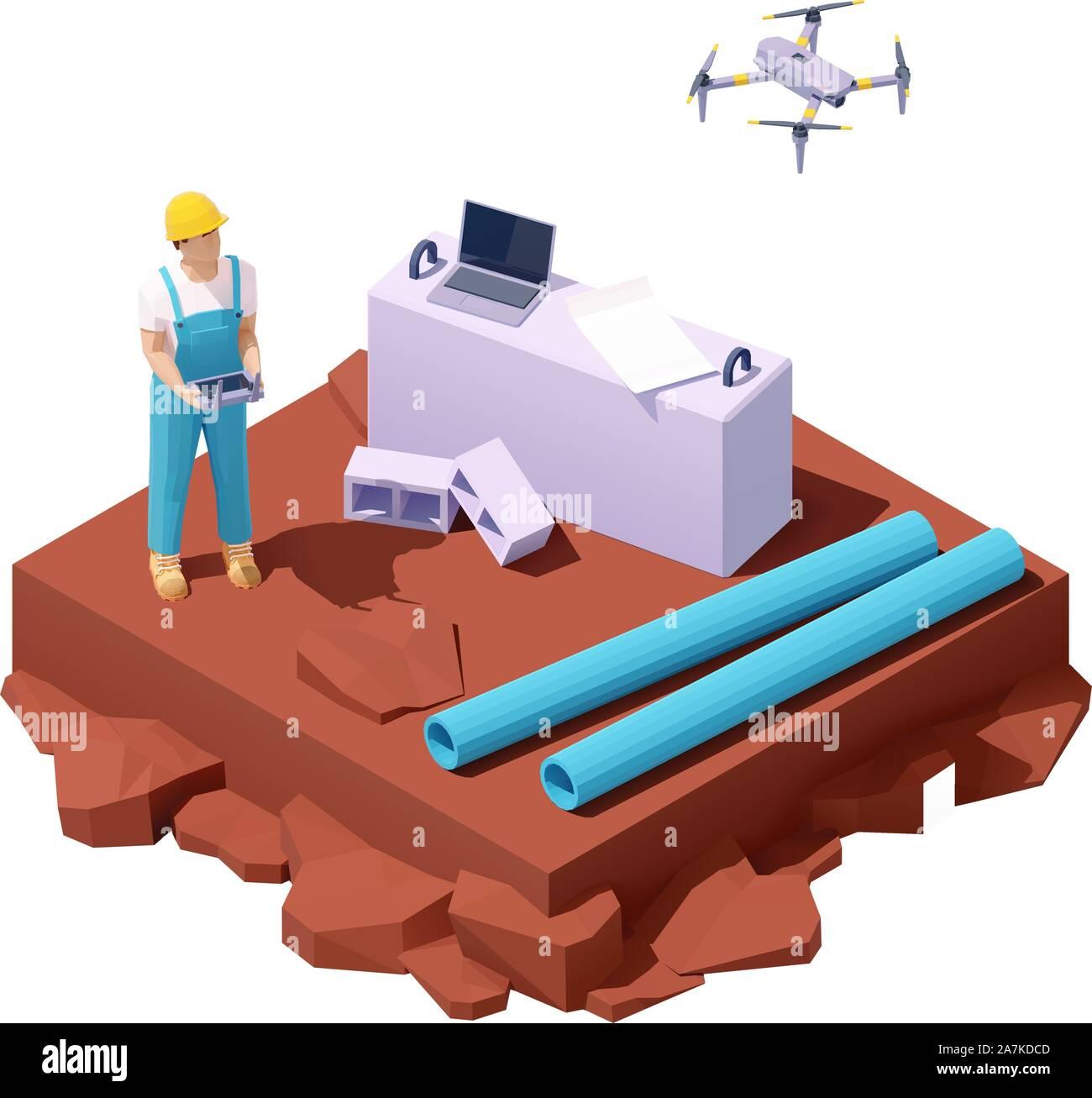 Vektor isometrische drone Umfrage auf der Baustelle Stock Vektor