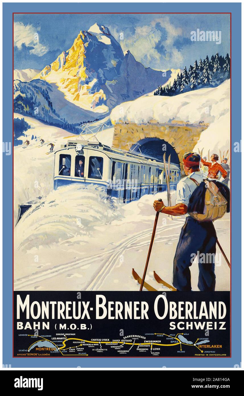 Jahrgang 1930 Schweizer Zug Schnee Eisenbahnen Pflug Ski Skifahren alte Travel Poster Winter Schnee Zug Ziel Linie Montreux Schweiz Berner Oberland Bahn Bahn Schweizer Bahn Schweiz Stockfoto