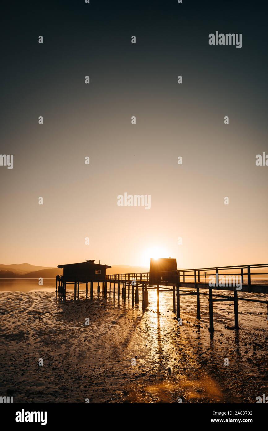 Sonnenaufgang auf einem Pier in Point Reyes Stockfoto