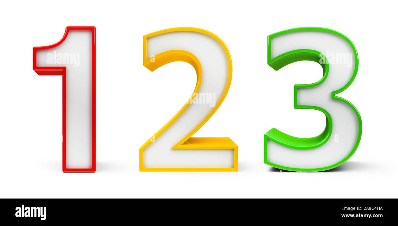 Die Nummern 200, 20, 20 eins, zwei, drei in verschiedenen Farben auf ...