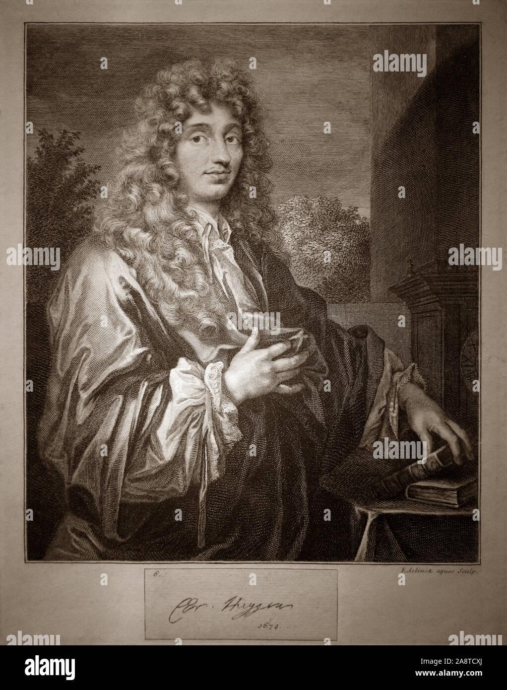 Christiaan Huygens (1629-1695) der niederländische Mathematiker, Astronom Physiker. Zeichnung von Caspar Netscher (1639 - 1684) Ein niederländischer Maler Portrait und Genre. Stockfoto