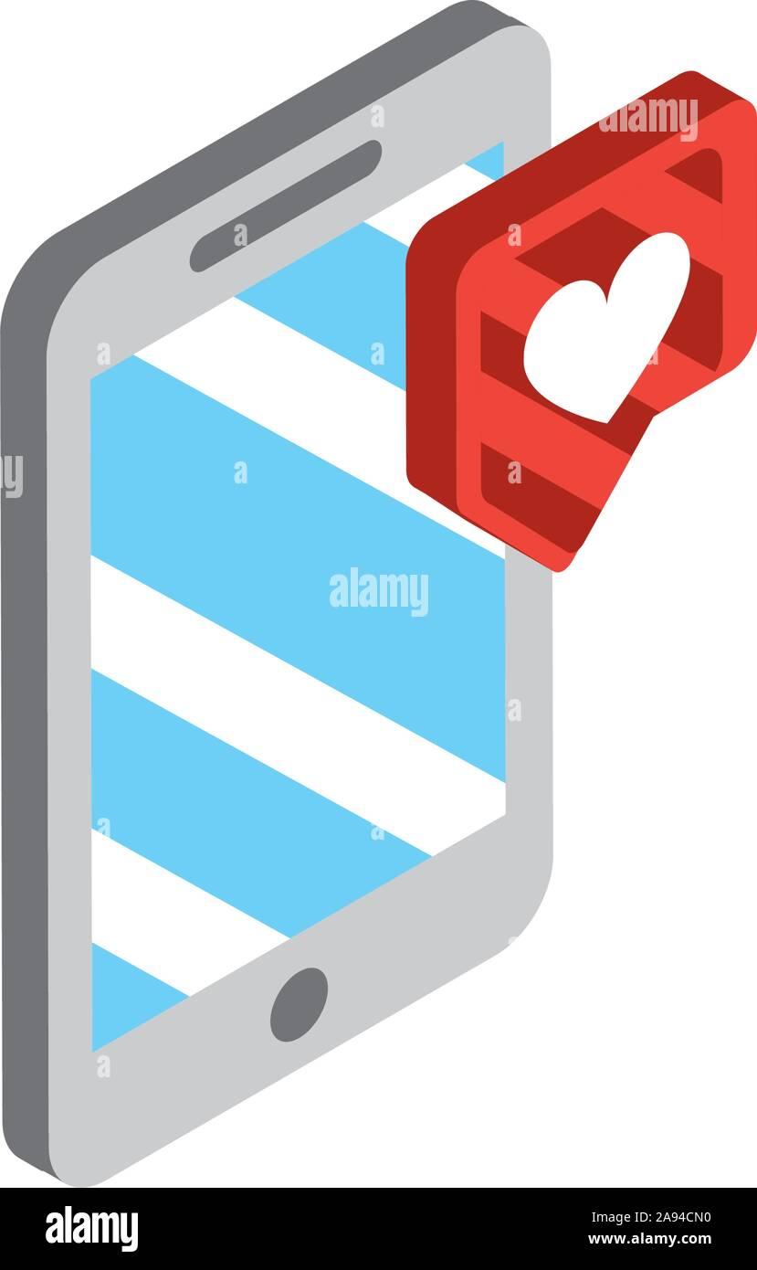 Smartphone liebe Chat social media isometrische Symbol Vektor illustration Stock Vektor