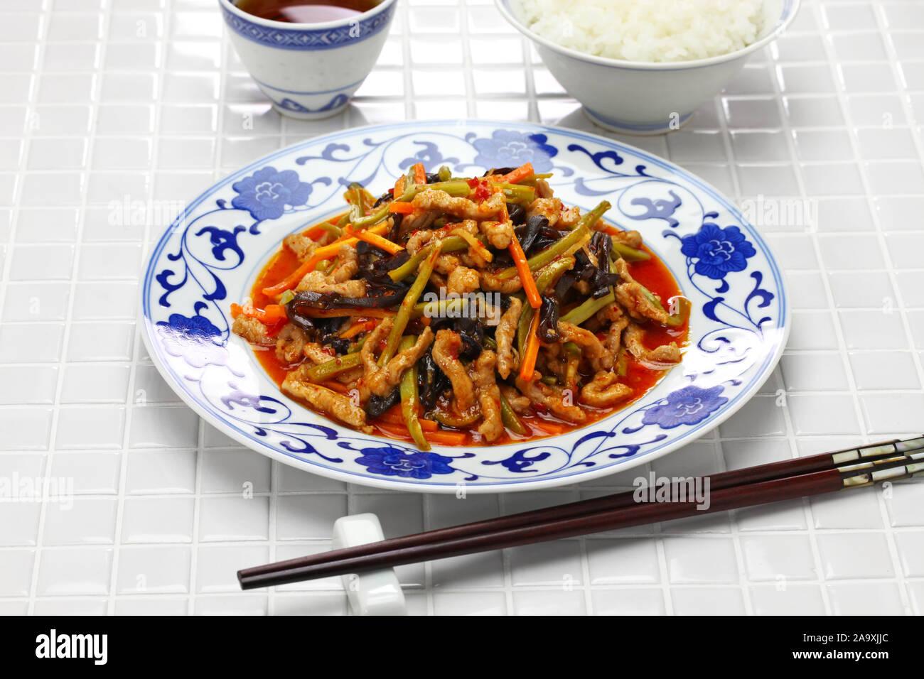 Yu Xiang rou Si, Sichuan zerkleinertem Schweinefleisch, chinesische Küche Stockfoto