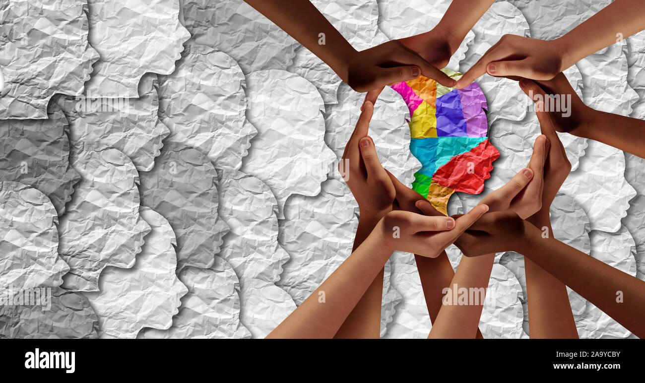 World Autism Bewußtsein Tag als psychische Gesundheit Konzept und autistischen sozialen entwicklungspolitischen Bildung Unordnung puzzle Kinder-Symbol als Kind etwas Besonderes. Stockfoto