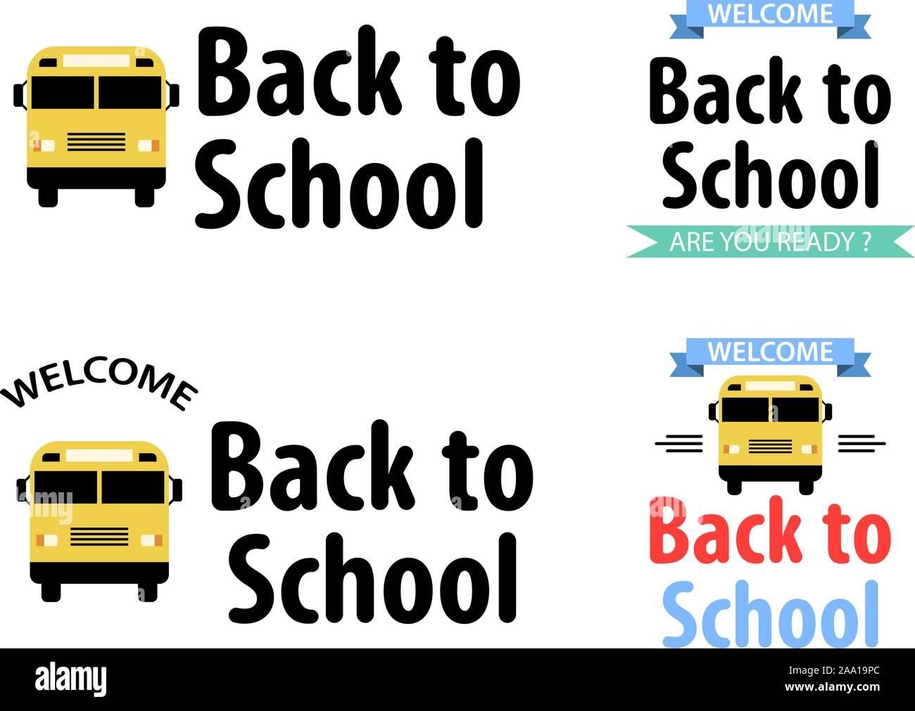 Zurück zur Schule. Mit bunten Bannern. Vector Illustration Stock Vektor