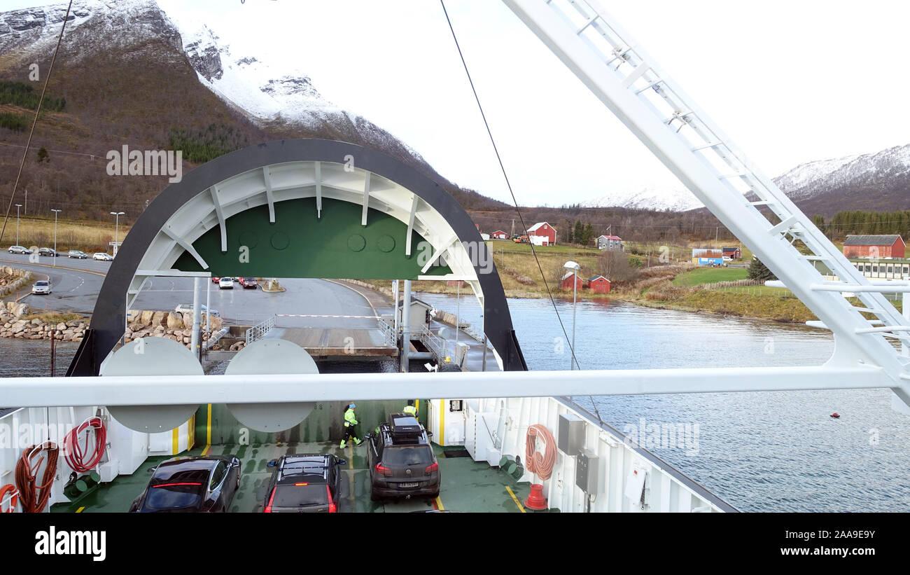 Refsnes - Flesnes Fähre Norwegen Stockfoto