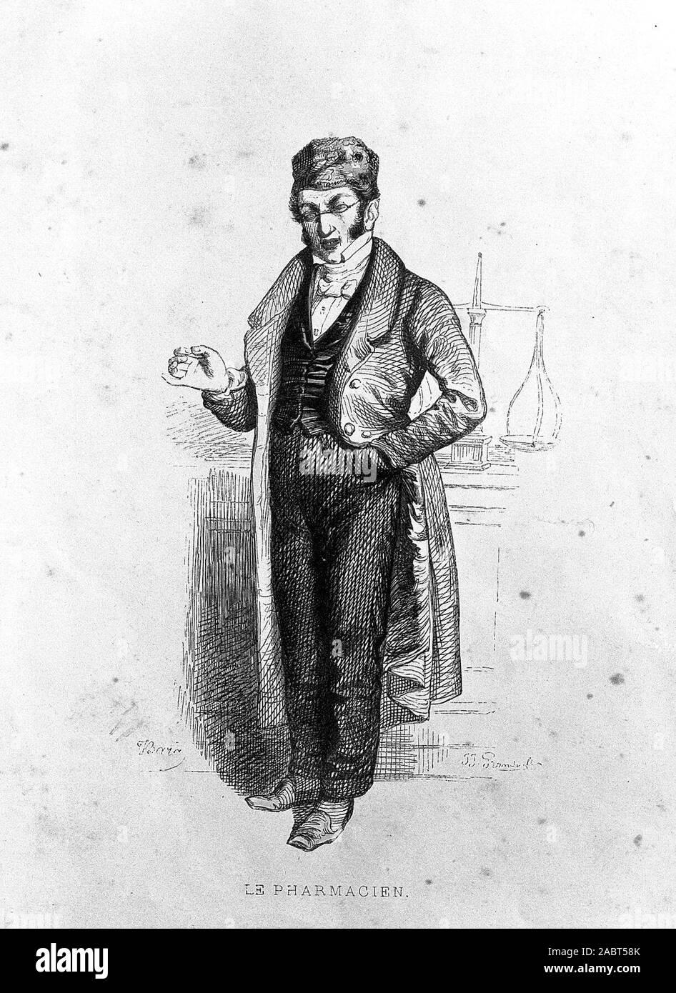Ein eingebildetes Apotheker in seinem Geschäft; persiflieren die Mittelschicht. Farbige Holzstich von J.I. Grandville nach J. Bara, C. 1840..jpg - 2 ABT 58 K Stockfoto