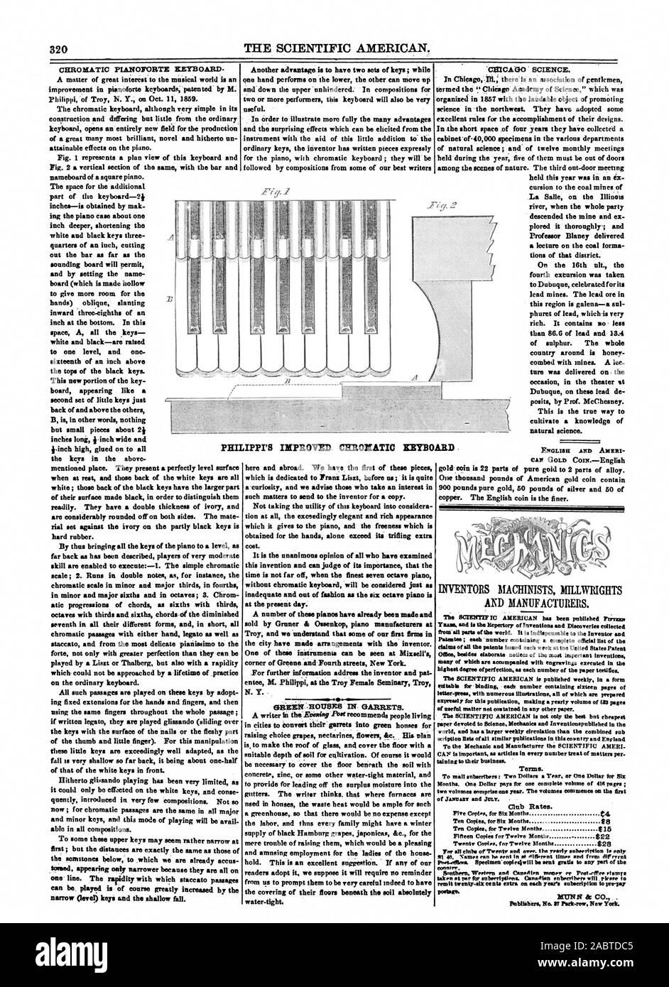 Club Preise. 5 Cont.Für 81x Monate $ 4 zehn Kopien für sechs Monate 88 zehn Kopien für zwölf Monate $ 15 822 20 Exemplare. Für Zwölf tionthe 828 an Tar für anbeerlptions. Kanadische enbeerthers wird eloper t PHIL MUNN & Co., Scientific American, 1860-11-10 Stockfoto