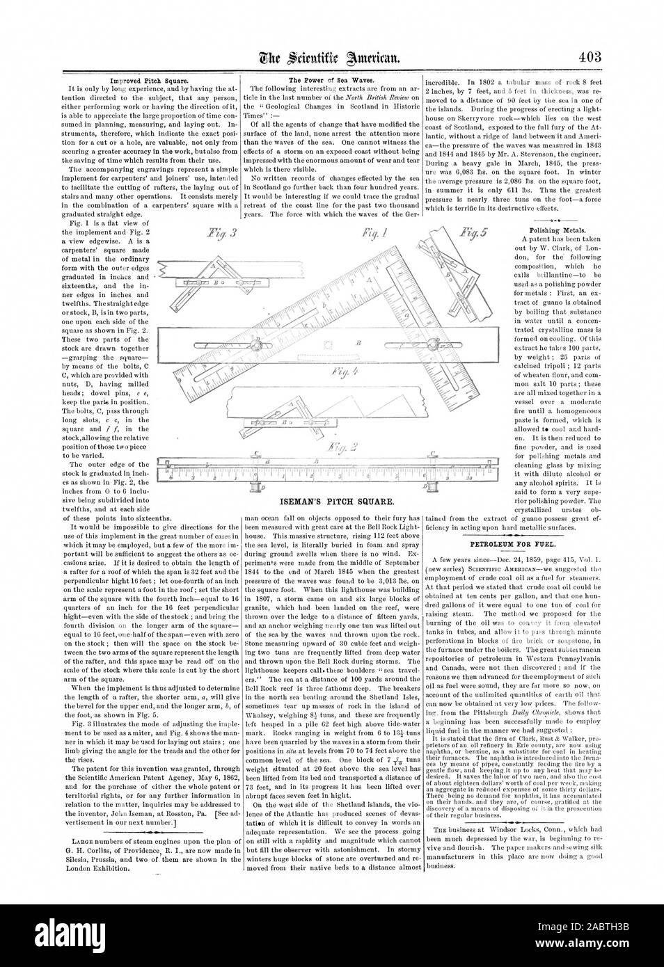 Verbesserte Pitch Square. Die Kraft der Wellen des Meeres. PETROLEUM FÜR KRAFTSTOFF., Scientific American, 1862-06-28 Stockfoto