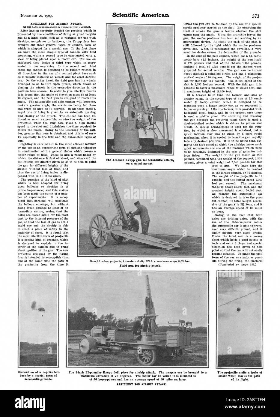 Die 4,2-Zoll Krupp Pistole für Luft- und Raumfahrt in Angriff DURCH DIE PARISER KORRESPONDENT DER WISSENSCHAFTLICHEN AMERICAS. gun. Die am besten für die Zündung einer Stunde angepasst wird. Aufgrund der Tatsache, dass sowohl Feld als Pistole für Luftschiff angreifen. Artillerie für LUFTSCHIFF ANGREIFEN., Scientific American, -1909-11-20 Stockfoto