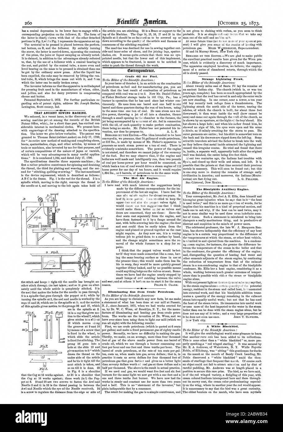 Die alte Nähmaschine. Rohöl 0 für Kraftstoff. Die heiße Luft Motor. Seltsame Lightning Freak. 4.--44 s Der Bisulphide Hilfsmotor. Eine weiße Amsel. 17, Scientific American, 1873-10-25 Stockfoto
