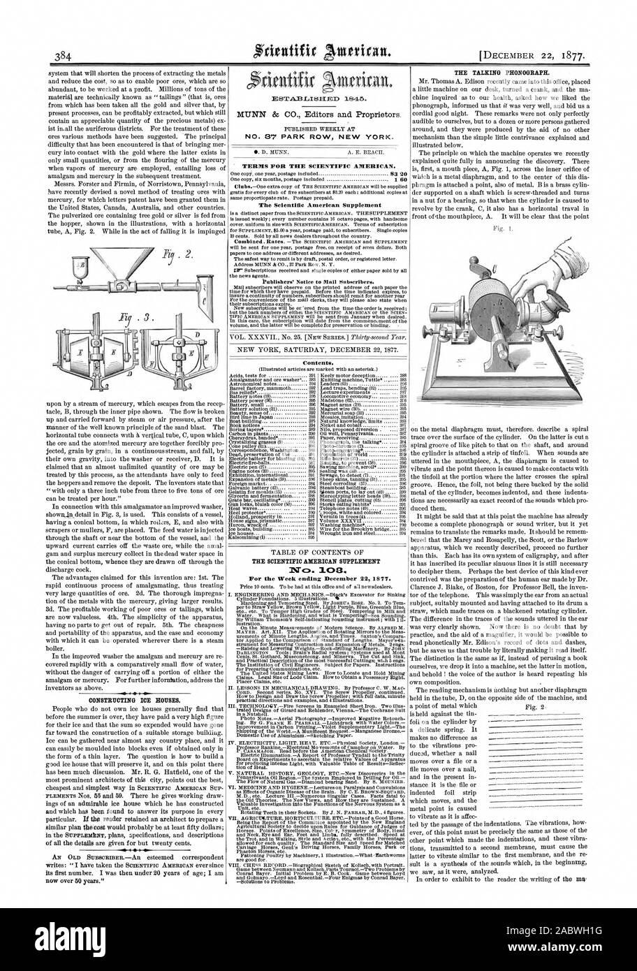 Bau von ICE-HÄUSER. Nr. 87 PARK ROW NEW YORK. Bedingungen für den Scientific American. Der Scientific American Supplement Inhalt. Nca. 103 für die Woche zum 22. Dezember 1877 endet. Der sprechende Phonographen. Faß Foto - engravit, 1877-12-22 Stockfoto