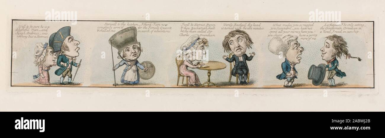 Menschen, die ein Leben der Fantasy als Folge von übermäßigem durch das Lesen von Romanen beeinflusst. Farbige Gravur nach G.M. Woodward, 1800. jpg - 2 ABWJ2B Stockfoto