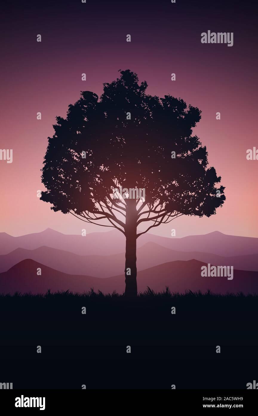 Natürlichen baum Wald berge Horizont Landschaft wallpaper Sonnenaufgang und Sonnenuntergang Illustration Vektor auf Comics Stil bunte hintergrund Stock Vektor