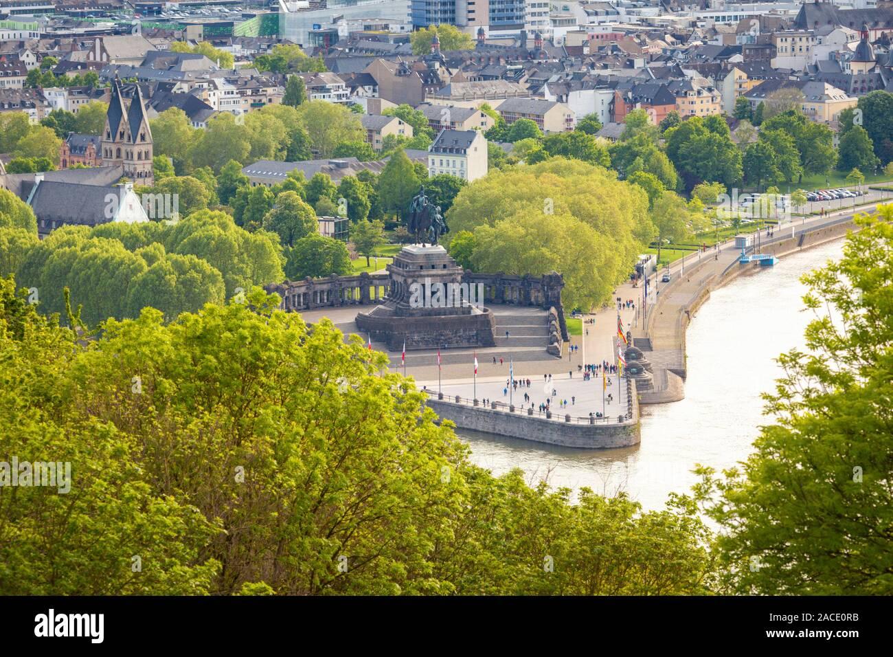 Panorama von Koblenz. Koblenz, Rheinland-Pfalz, Deutschland. Stockfoto