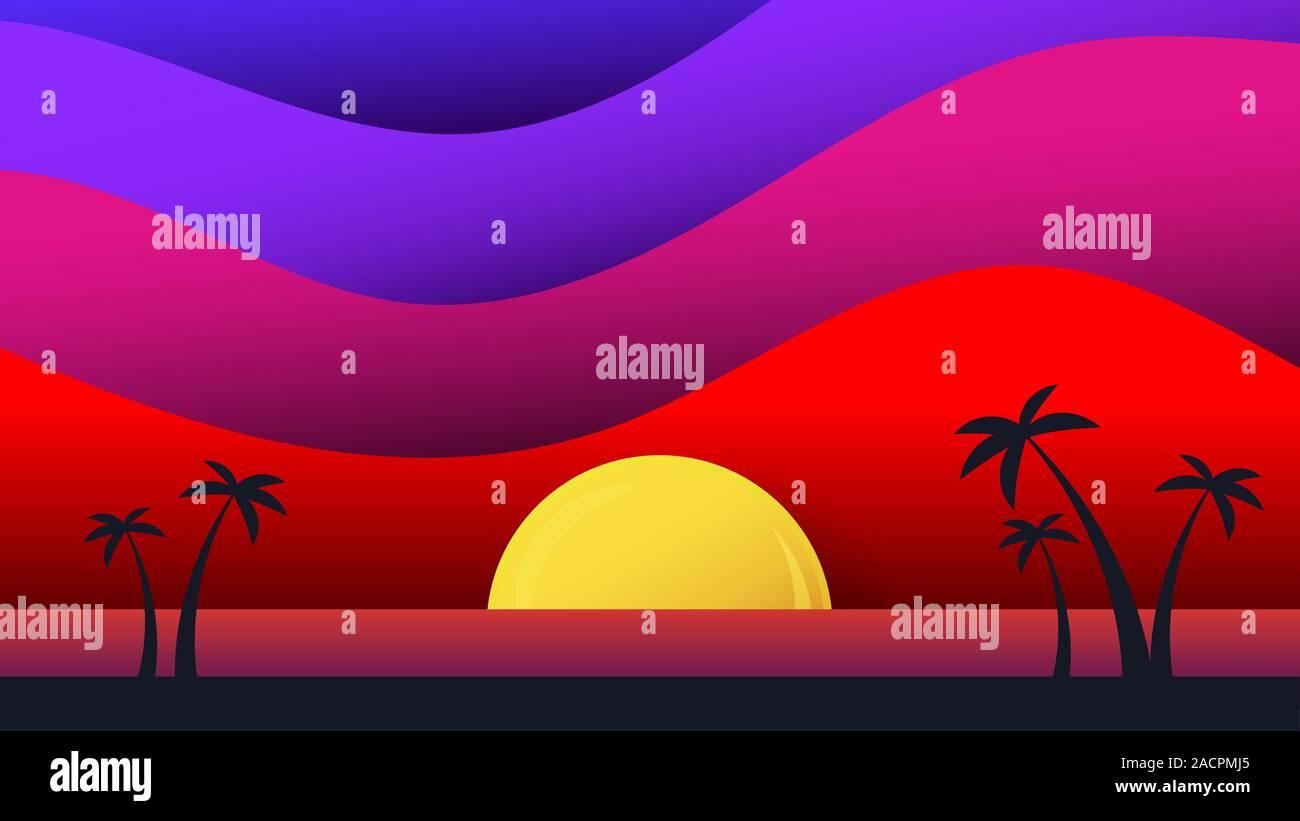 Heute s Paper Art Booklet. Moderne Design. Bunte geometrische Hintergrund. Vector Illustration einer tropischen Insel. Stock Vektor