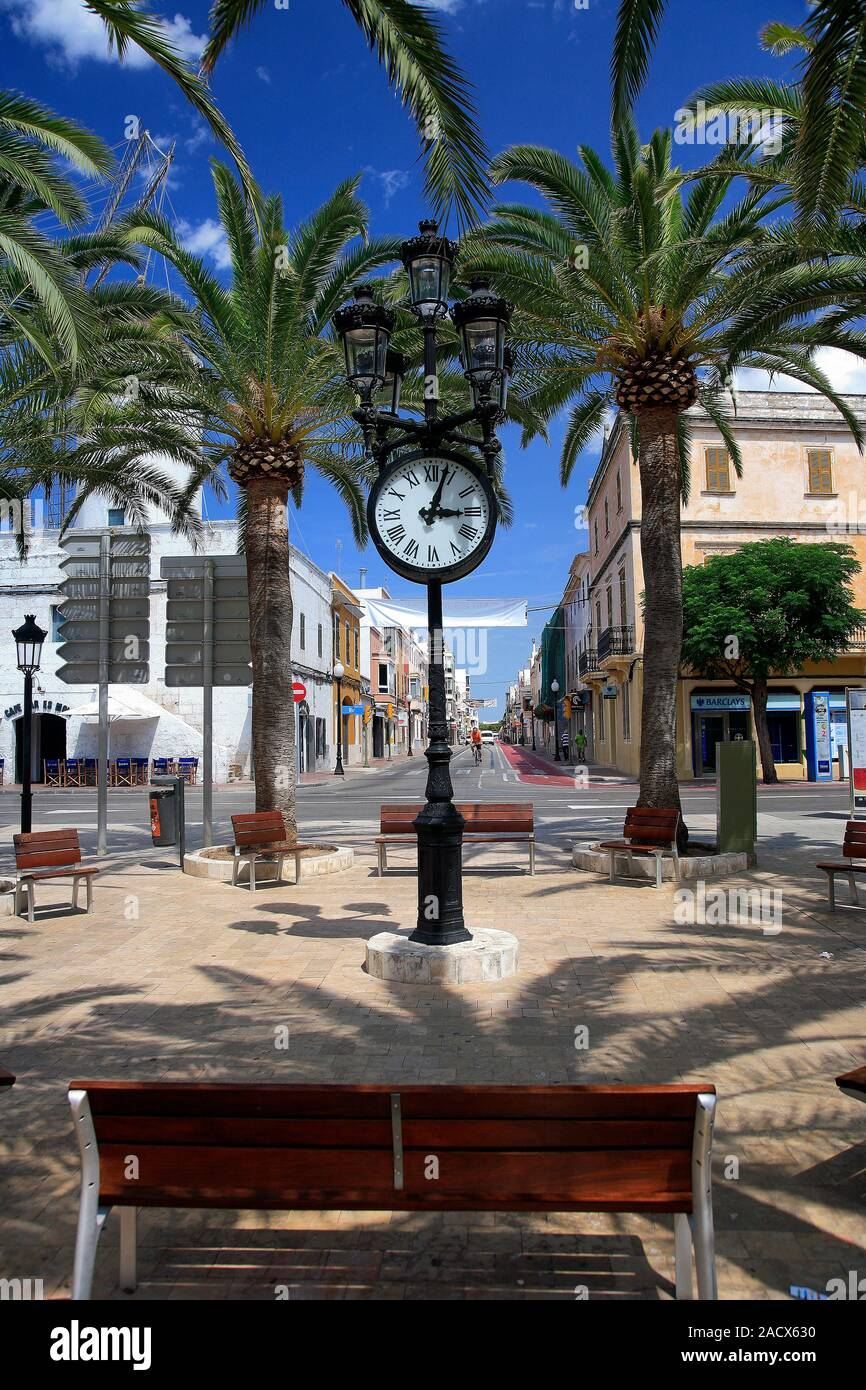 Street View in Ciutadella Stadt, Insel Menorca, Balearen, Spanien, Europa Stockfoto