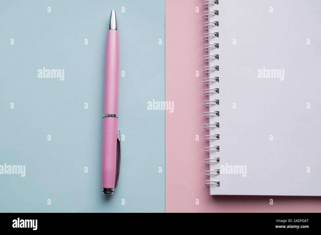 Spirale Notebook mit leeren Seiten und Einweg Füllfederhalter auf Pastell rosa und blauen Hintergrund, Ansicht von oben, flach Stockfoto