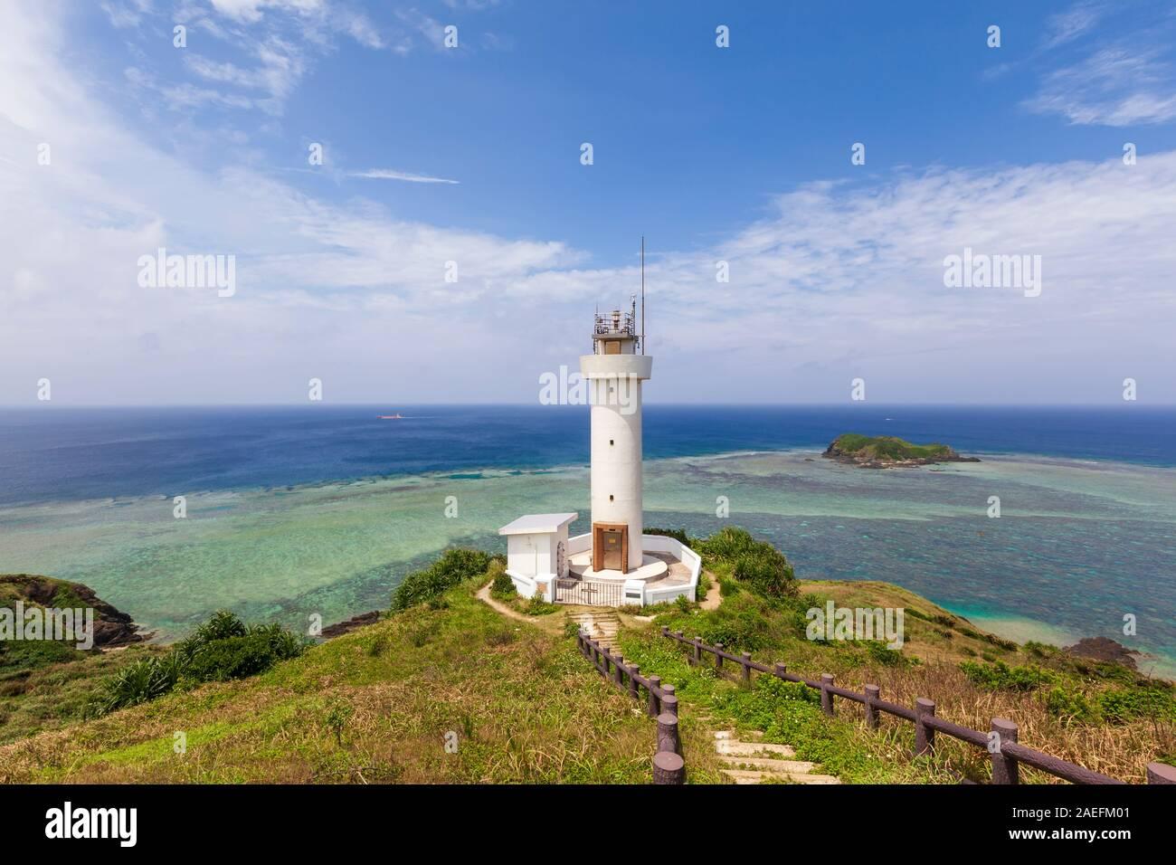 Hirakubo Leuchtturm auf der Insel Ishigaki in der Präfektur Okinawa, Japan. Stockfoto