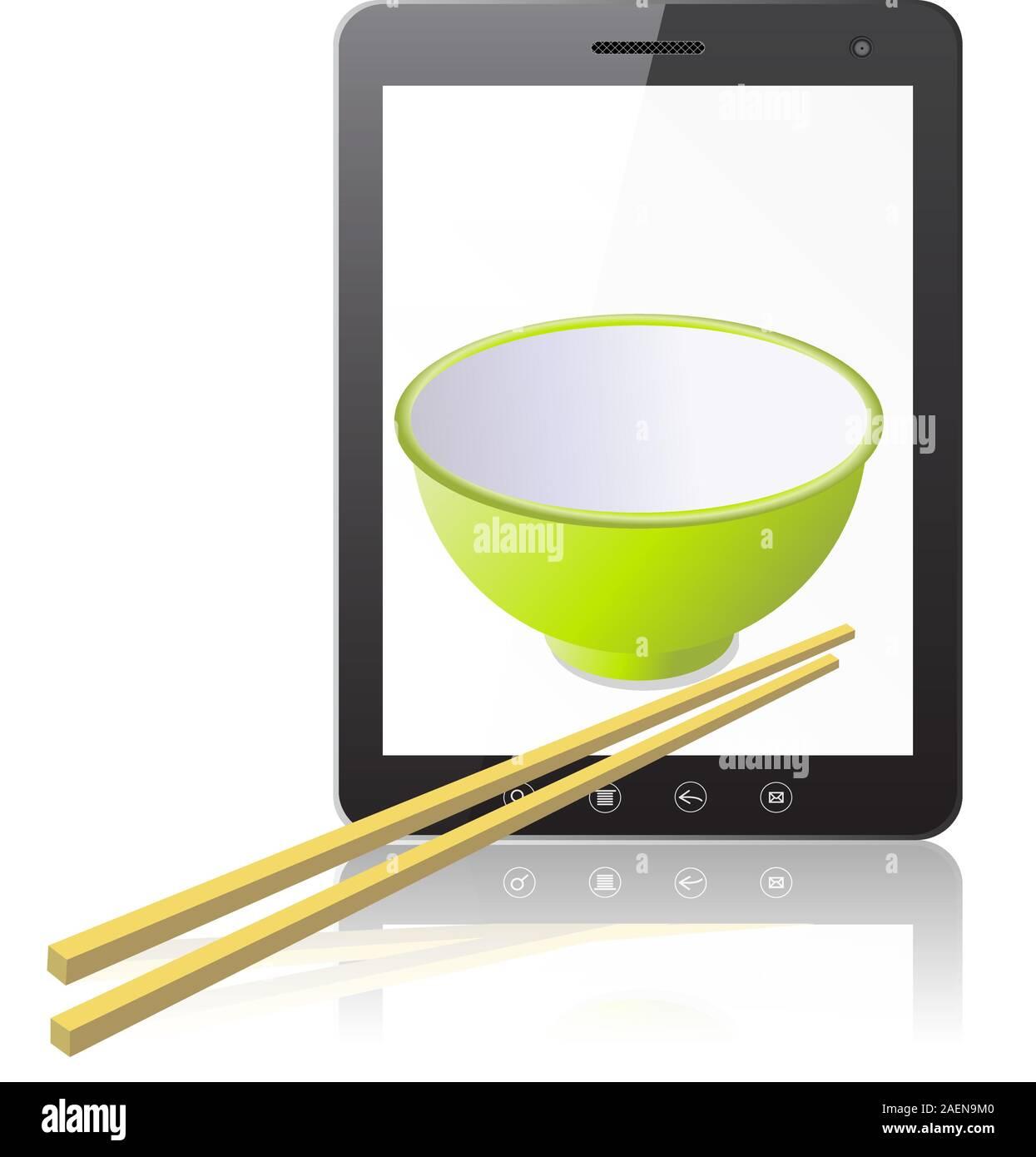 Tablet-PC-Computer mit Keramik-Becher mit hölzernen Stöcke isolierten auf weißen Hintergrund. Vektor-Illustration. Stock Vektor