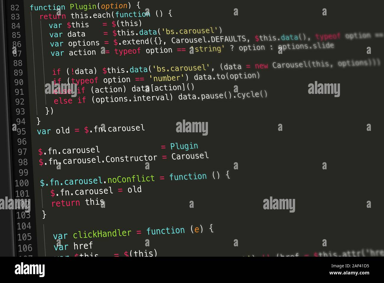 JavaScript Code Screenshot Stockfotografie   Alamy